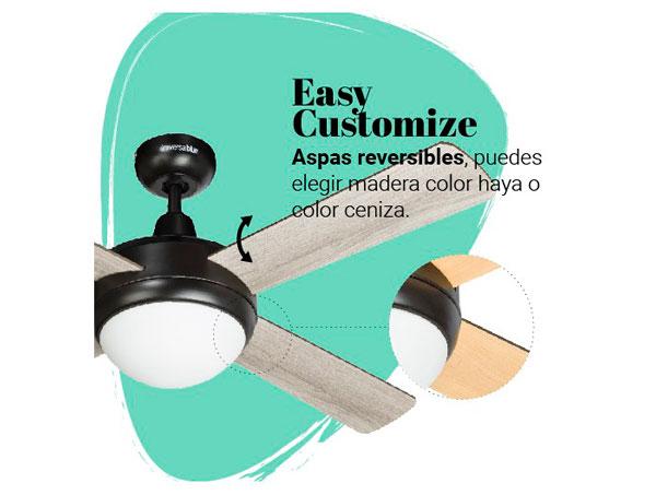 ventilador de techo con luz reversible